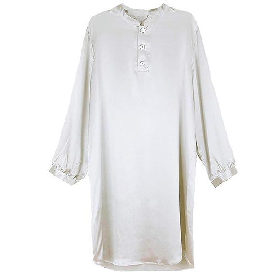 Laughingcv pijamas de seda hombre Bata de Seda de satén de ...