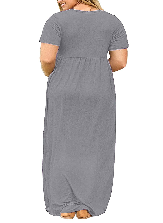 Syktkmx Womens Plus Size Maternity Short Sleeve Empire Waist Summer Maxi  Dress with Pockets