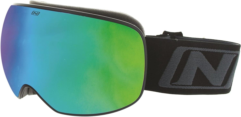Optic Nerve San Juan Amber with Green Zaio Mirror Lens Shiny Black Frame Large Unisex Goggles Eyewear