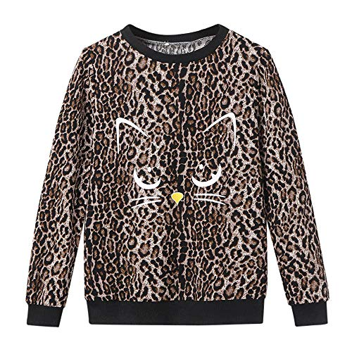 Rambling Women's Cat Print Sweatshirt Long Sleeve Loose Pullover Shirt Blouse (Leopard BK, M)