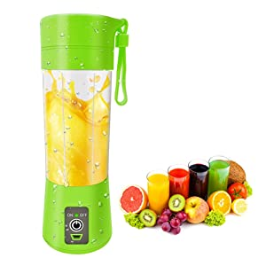Portable Blender Single Serve, Personal Size Blender USB Rechargeable Juicer Cup Fruit Mixing Machine Baby Travel 380ml FDA, BPA-Free (Green)
