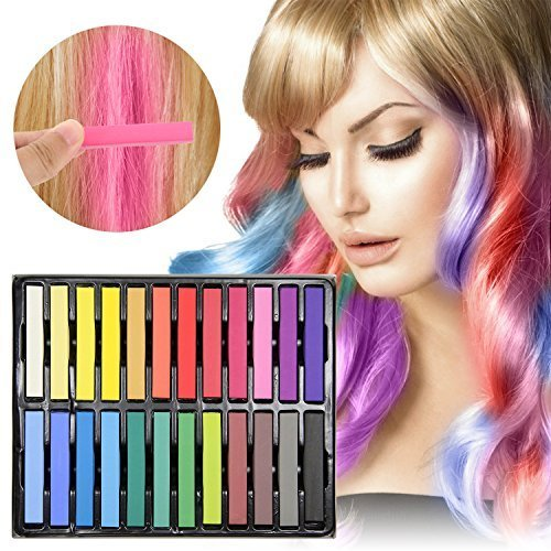 Upgrades Dye - Temporary Hair Chalk - Ovinm 2017 Upgrade Non-Toxic Rainbow Colored Dye Pastel Kit, Included with 3 pairs of disposable gloves and shawls, Color Essentials Set(24 COUNT)