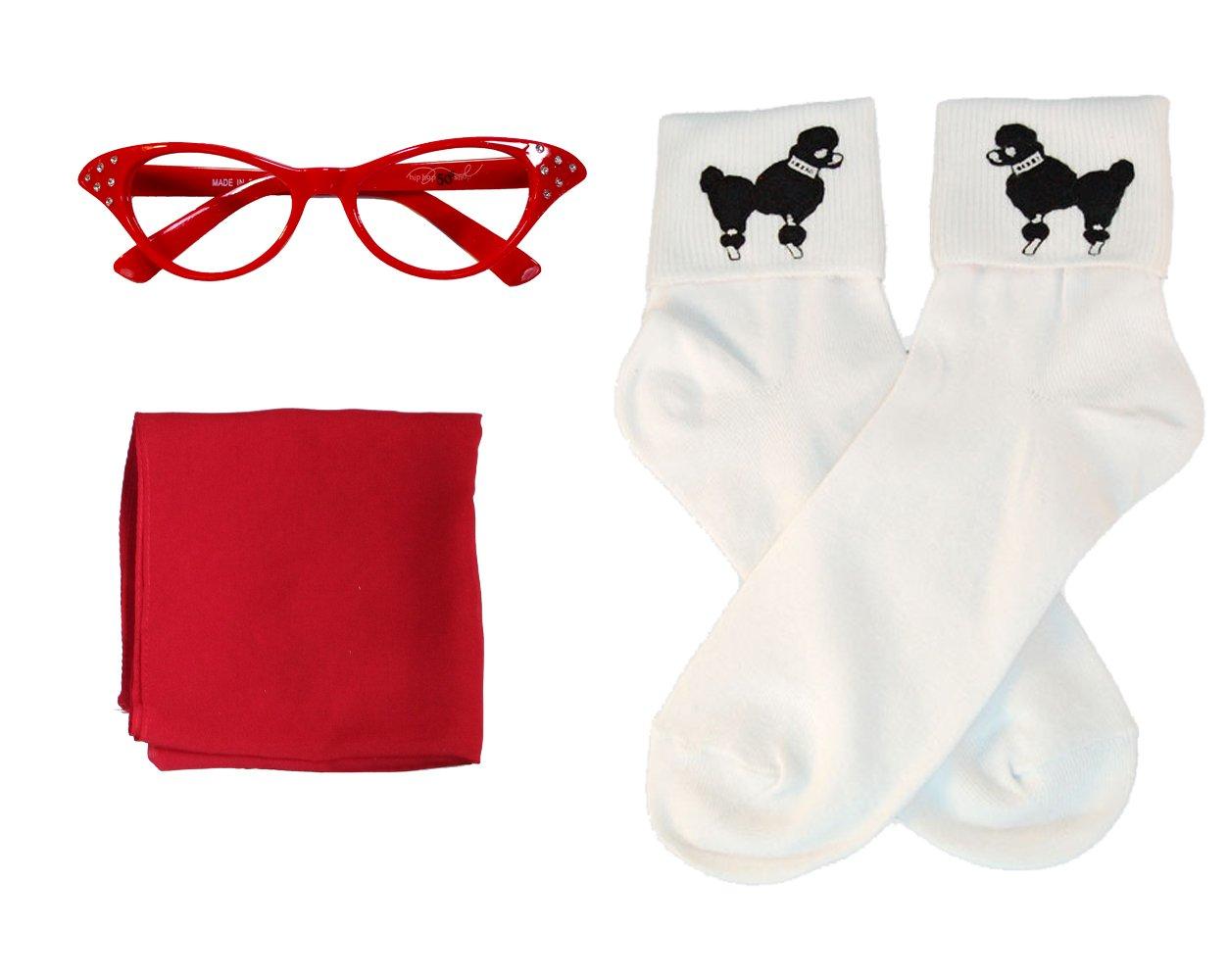 Hip Hop 50s Shop Adult 7 Piece Poodle Skirt Costume Set Black and Red Large by Hip Hop 50s Shop