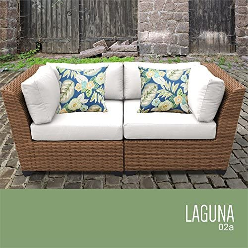 TK Classics Laguna Patio Wicker Loveseat in White