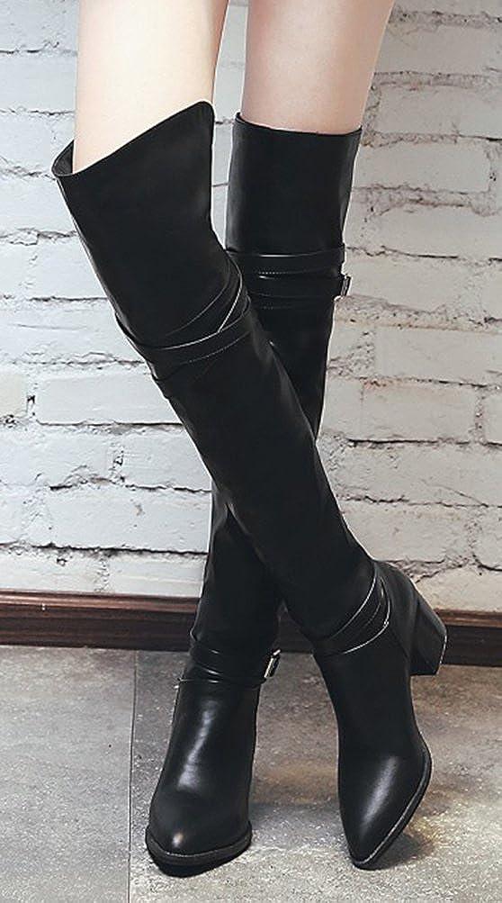 Easemax Damen Stiefel Elegant Langschaft Spitze Zehe Overknee Riemen Blockabsatz Stiefel Damen Schwarz edebd0