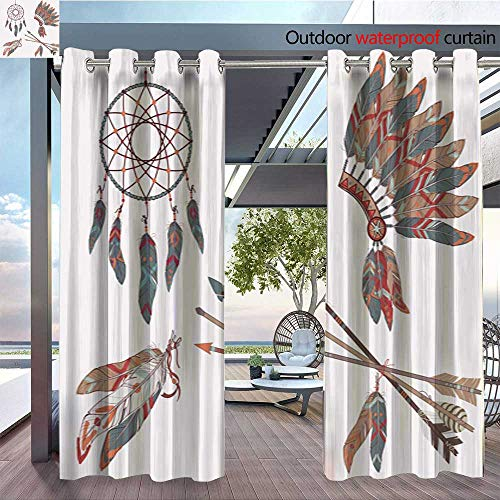 (BlountDecor Indoor/Outdoor Single Panel Print Window Curtain Vector Colorful Ethnic Set with Dream Catcher Feathers arrows1 Silver Grommet Top Drape W96 x L108/Pair)