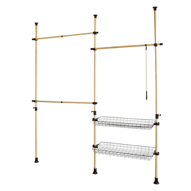 SoBuy® Sistema de Perchero Extensible (160-195 x 38 x 103-278 cm), Metal y plástico, Color Natural, FRG106, ES