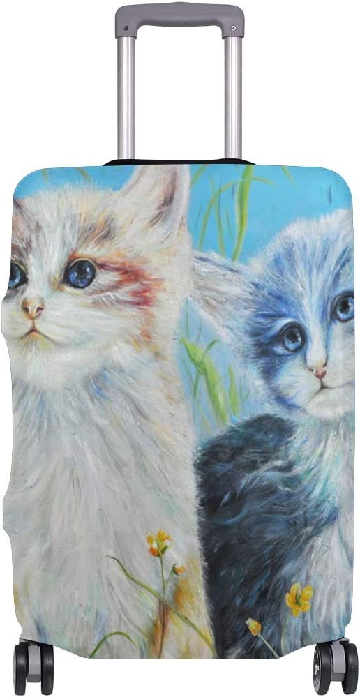 Nanmma Cute 3D Oil Painting Cats Pattern Luggage Protector Travel Luggage Cover Trolley Case Protective Cover Fits 18-32 Inch