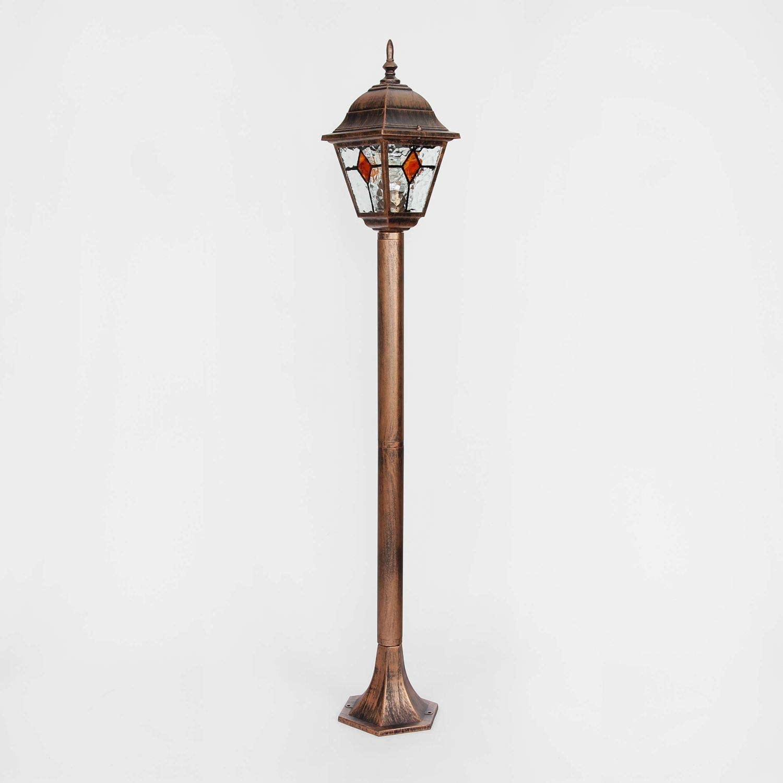 Aussen Stehlampe Kupfer Antik Glas Tiffany Stil 1 03m Hoch E27