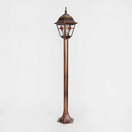 Lámpara de pie para exterior cobre vidrio antiguo estilo Tiffany 1,03m de alto E27 lámpara de forma rústica terraza en el jardín: Amazon.es: Iluminación