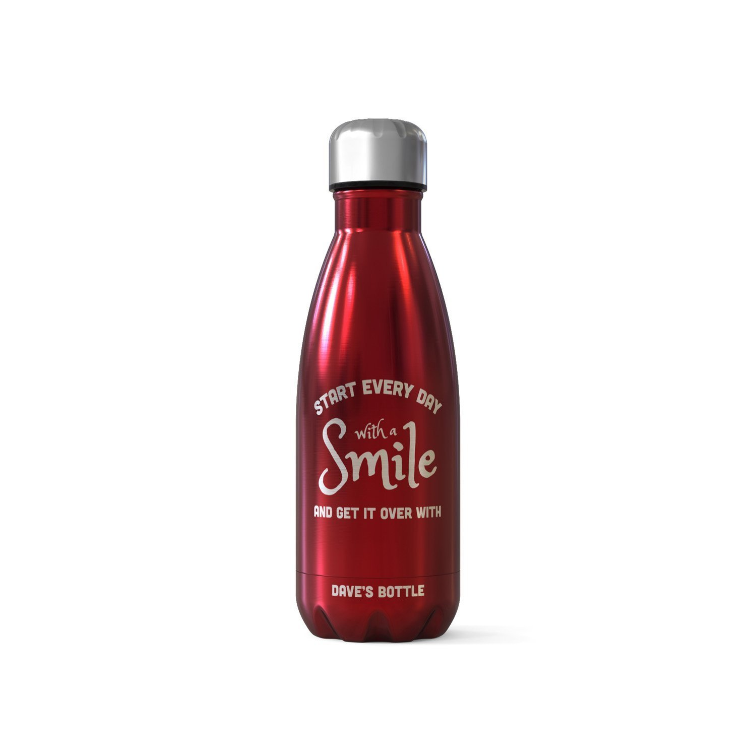 Personalised Bottle Flask - Start Everyday With A Smile