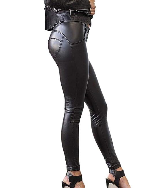 c10a5c401f5cc7 SEASUM Women s Faux Leather Leggings Pants PU Elastic Shaping Hip Push Up  Black Sexy Stretchy High