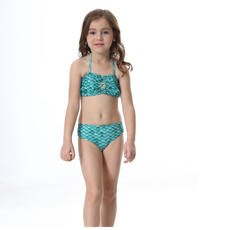 loenzo otiz Girls Mermaid swimwear and fins 4PC Green G150