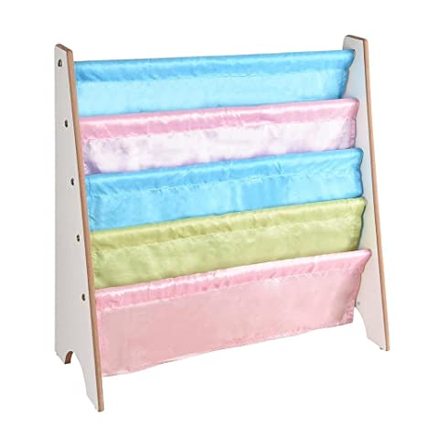 Kids Wood 5 Pocket Sling Bookshelf Book Display Rack Color White