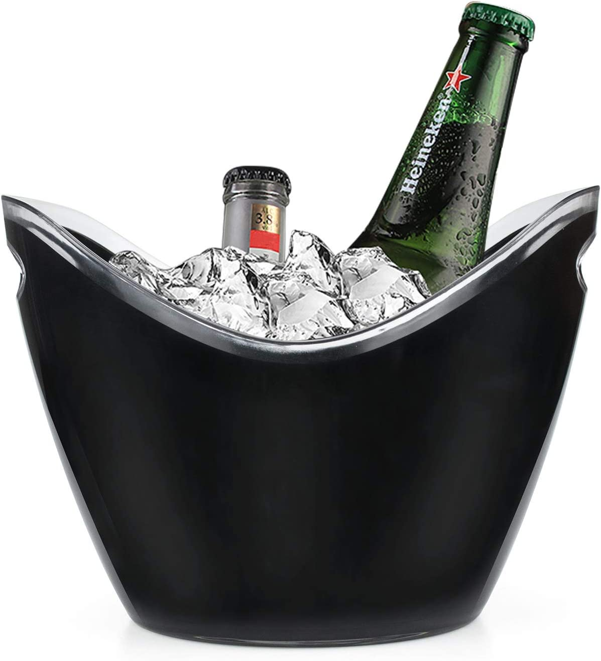 Yesland Ice Bucket, 3.5 L Black Plastic Party Bottle Chiller - 10.5 x 8 x 7-3/4 Inch Ice Beverage/Storage Tub - Perfect for Wine, Champagne or Beer Bottles