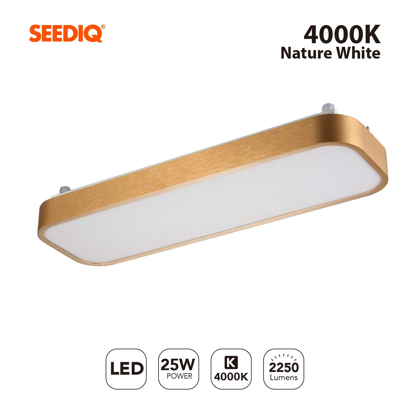 Balcony,Office Non Dimmable LED Ceiling Lamp for Bathroom 4000K Natural Light 2250Lm Living Room,Hallyway Seediq 25W LED Ceiling Light Energy Class A++