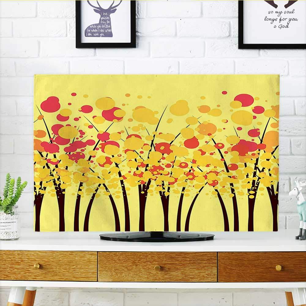 Leighhome あなたのTVを守る 黄色のストライプ柄 アート 白と黄色 TV W19 x H30 インチ/TV 32インチ W36 x H60 INCH/TV 65