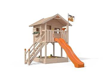 Super ISIDOR Spielturm FRIDOLINO Schaukelanbau mit XXL Rutsche in orange DK51
