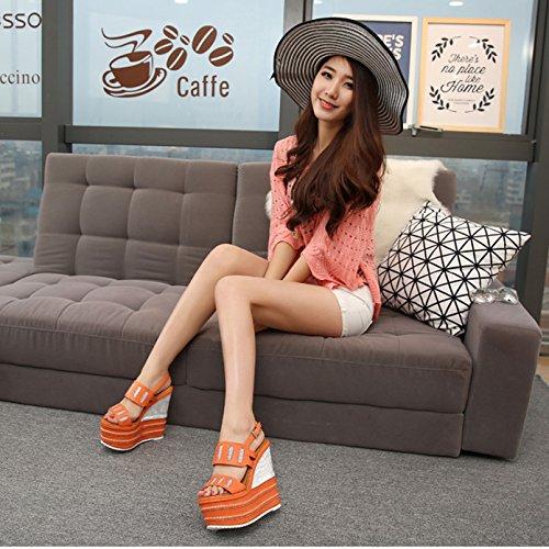 GTVERNH-Di Nuovo 16Cm Sexy Super Fico Buco Scarpe Tacco Femminile Al Netto Di Sabbia China Tacco Impermeabile Piattaforma Spessa Basso 36 Orange Orange