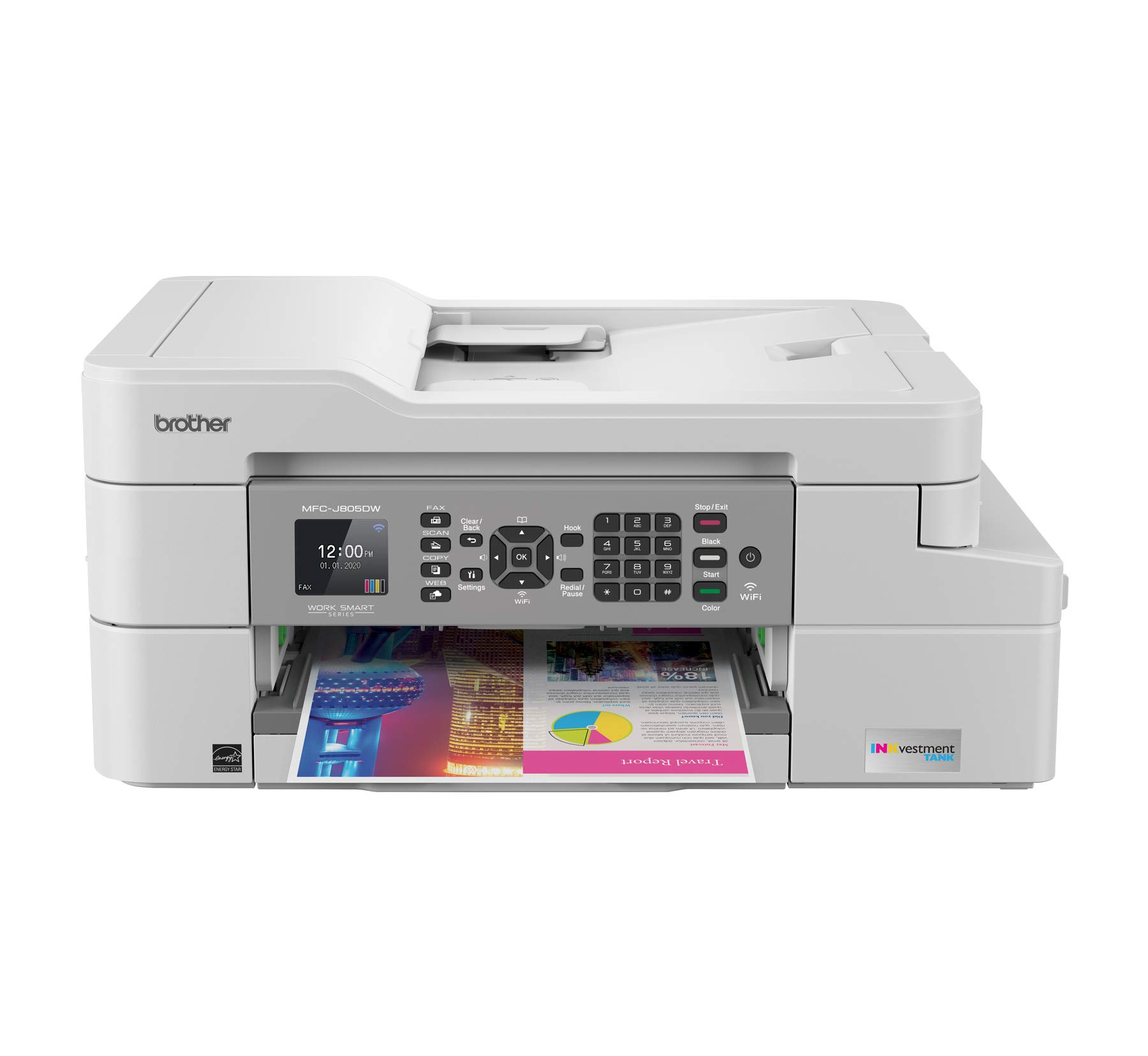Brother MFC-J805DW INKvestmentTank Color Inkjet All-in-One Printer with Mobile Device and Duplex Printing with Up To 1-Year of Ink In-box