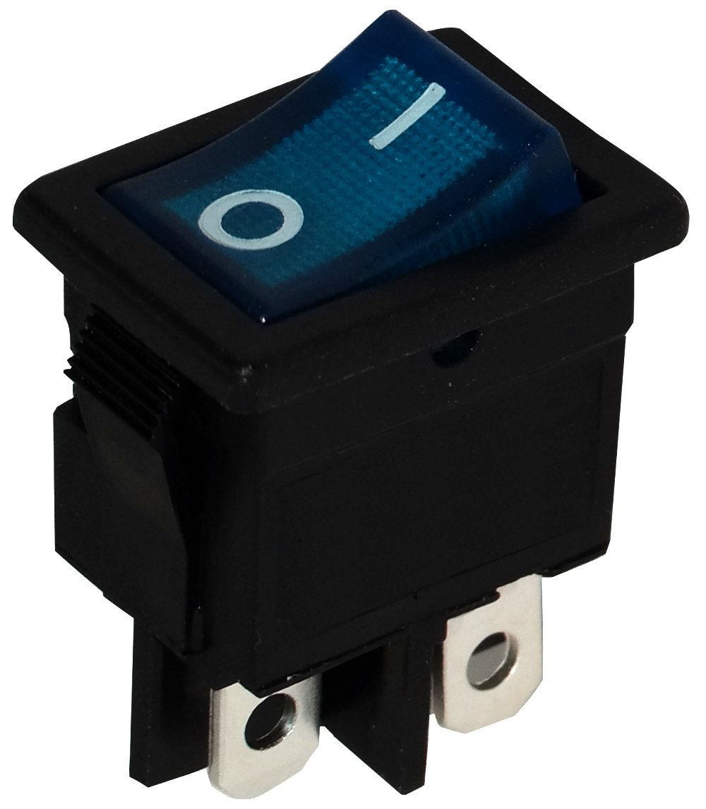 Aerzetix: DPST ON-OFF 6A/250V 2 Positions Toggle Switch, Black and Blue Interrupter SK2-C10738-K188