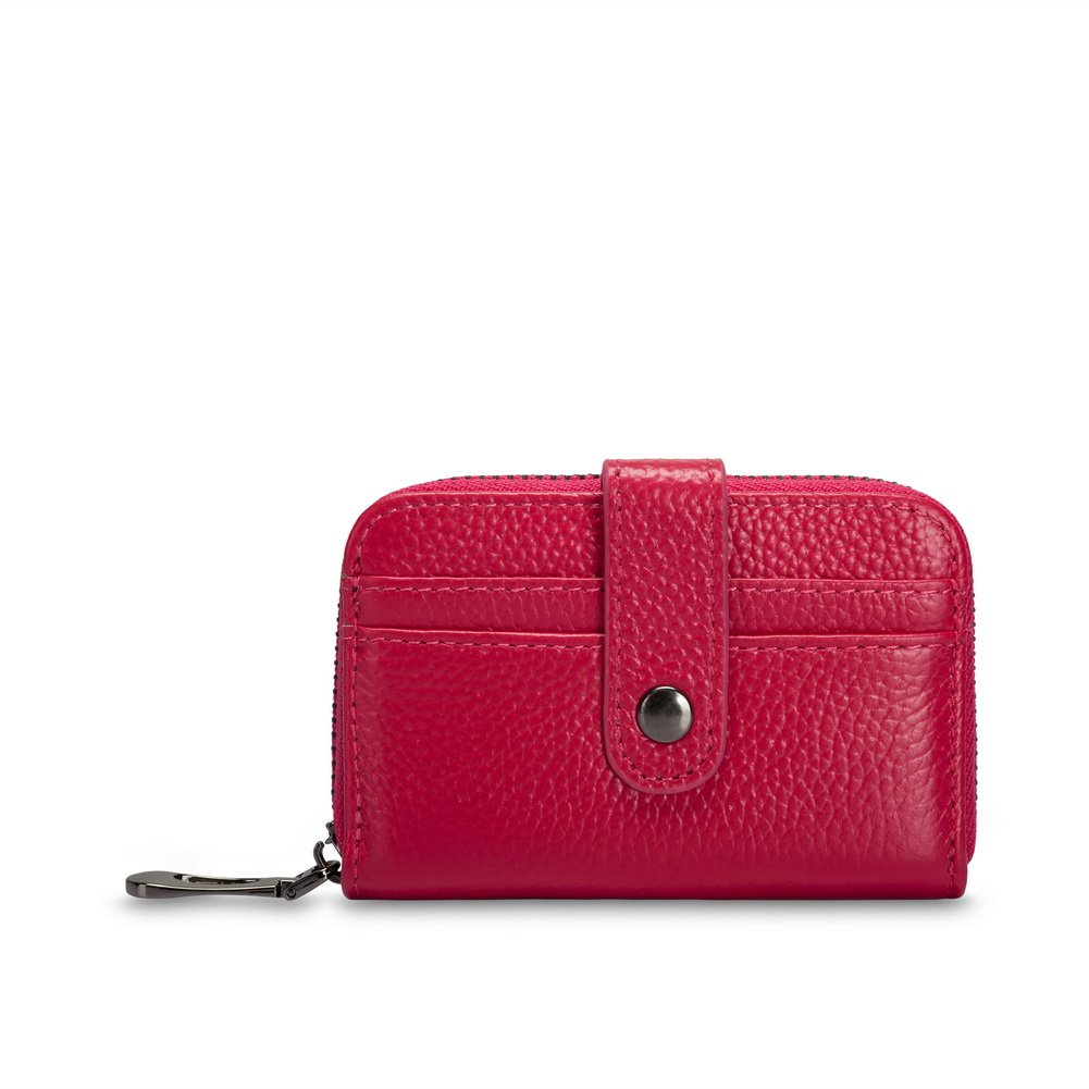 VIVOCASE Credit Card Wallet Genuine Leather RFID Credit Card Holder Secure Zipper Button Card Wallet (Red)
