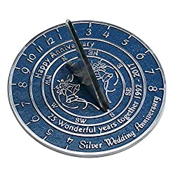 Silver Anniversary Sundial Gift Handmade In England By The Metal Foundry Ltd.