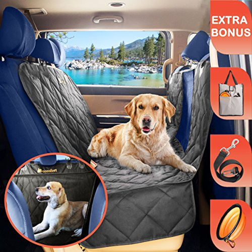 B-comfort Dog Seat Cover-Clear View Window Keeps You Pet Calm-Back Seat Cover For Dogs-Car Seat Protector For Dogs-Large Deluxe Dog Car Hammock For Backseat-For Vehicle-SUV-Small Trucks-Black-54x58