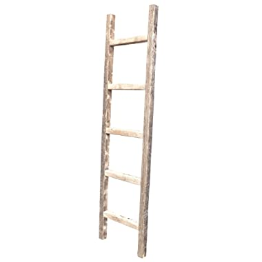 BarnwoodUSA Rustic Farmhouse Decorative Ladder - Our 5 ft Ladder can be Mounted Horizontally or Vertically and is Crafted From 100% Recycled and Reclaimed Wood | No Assembly Required | Weathered Gray