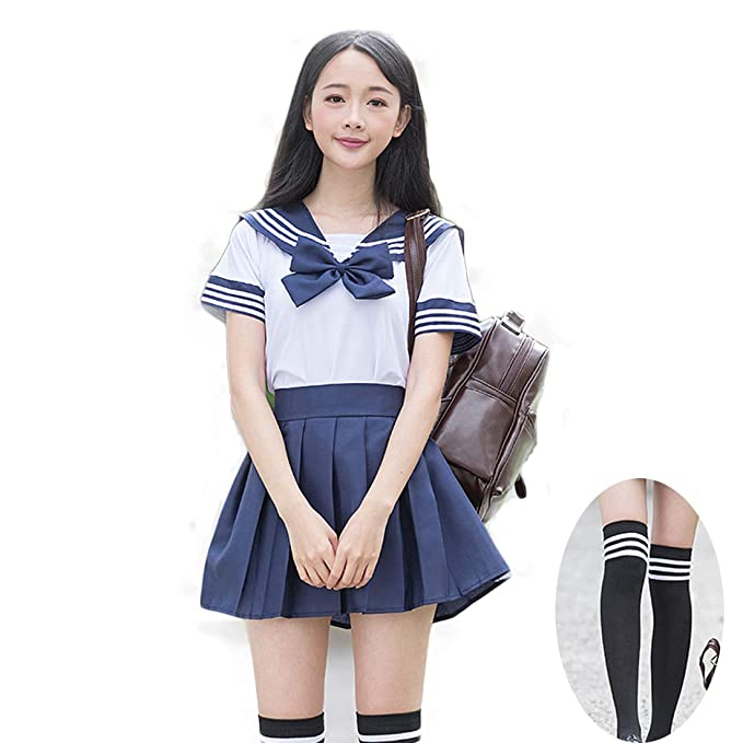 Women sexy cosplay student uniform dress suit set japanese sailor scho borizcustom