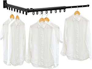 BESy Wall Mounted Folding Clothes Hanger Space-Saver, Indoor/Outdoor Adjustable Clothes Drying Rack, Retractable Dry Coat Hanger For Laundry Room, Storage Organiser Instant Closet,Matte Black/Aluminum