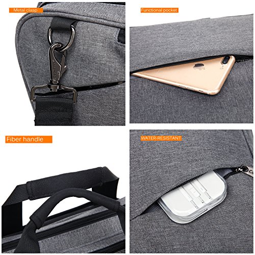 CoolBELL Convertible Messenger Bag Backpack Shoulder Bag Laptop Case Handbag Business Briefcase Multi-Functional Travel Rucksack Fits 17.3 inch Laptop for Men/Women (Grey) by CoolBELL (Image #5)