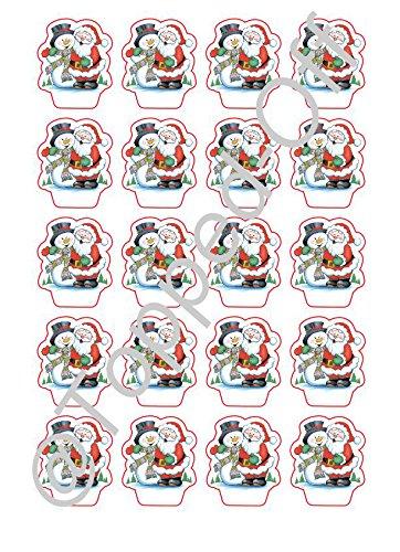 20 de Navidad Papá Noel & Muñeco De Nieve Figura Comestible Decoración PARA CUPCAKES DECORACIÓN por Topped Off: Amazon.es: Hogar