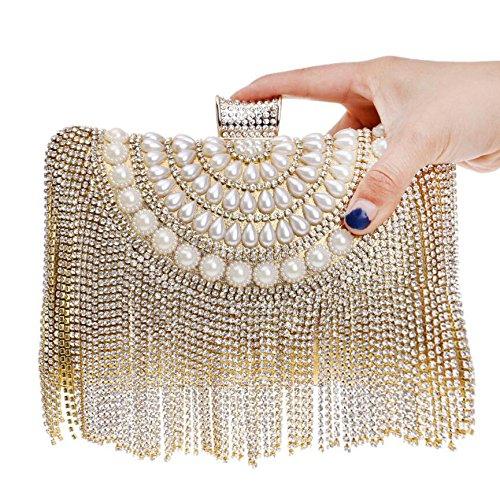 Pochette Pour Dames Party Mariage Clubs Cadeau Perle Sac Sac Glitter Gold Prom Antique Sac Femmes Bandoulière Nuptiale Main Diamante De À Soirée À Gland Main à qfHawd