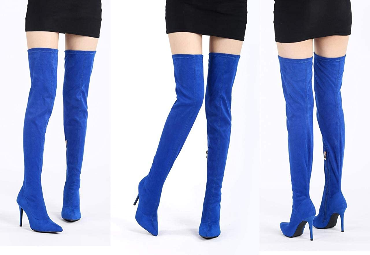 1ee10e9005 Amazon.com | CAMSSOO Women's Thigh High Stretch Boots Side Zipper Pointy  Toe Stiletto Heel Knee High Boots | Knee-High