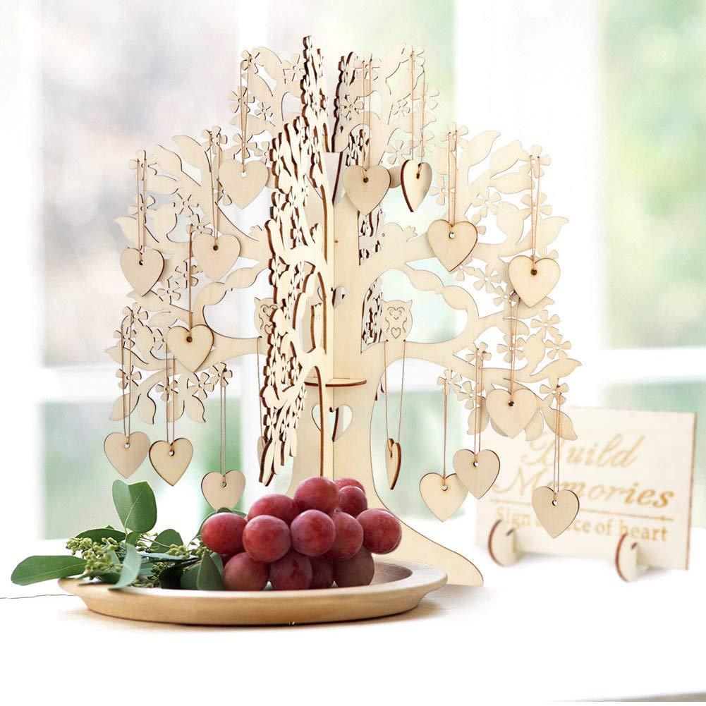 Sweet48 Livre dor de Mariage Arbre /à v/œux 3D en Bois Beige Taille Unique D/écoration de Table de f/ête Cadeau cr/éatif Artisanal Arbre /à v/œux