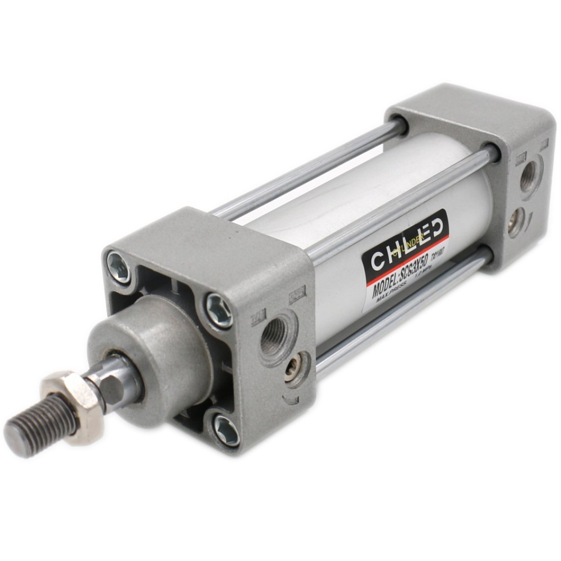 Baomain Pneumatic Air Cylinder SC 63 X 50 PT3/8, Bore: 2 1/2 inch, Stroke: 2 inch, Screwed Piston Rod Dual Action