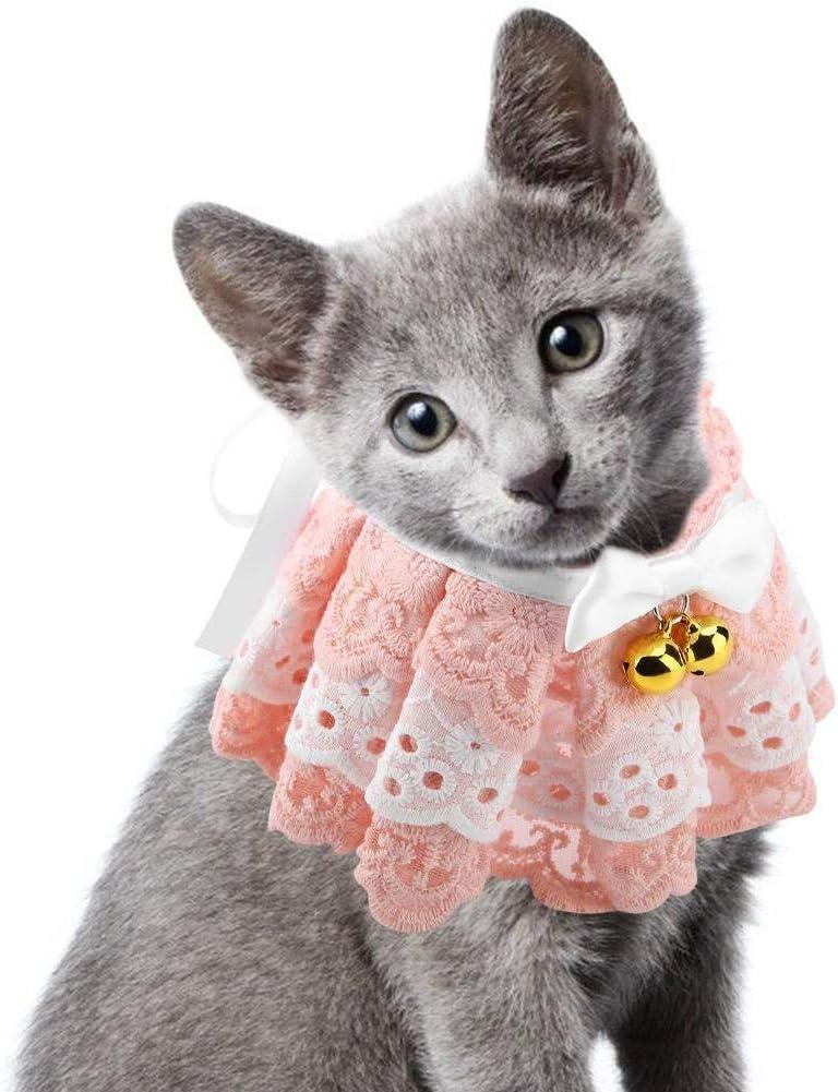 L HEEPDD Pet Cat Lace Collar Necktie Adjustable Dogs Necklace Neckwear Puppy Kitten Bib Dribble Saliva Neck Tie Grooming Accessories for Wedding Party Birthdays Photoshot