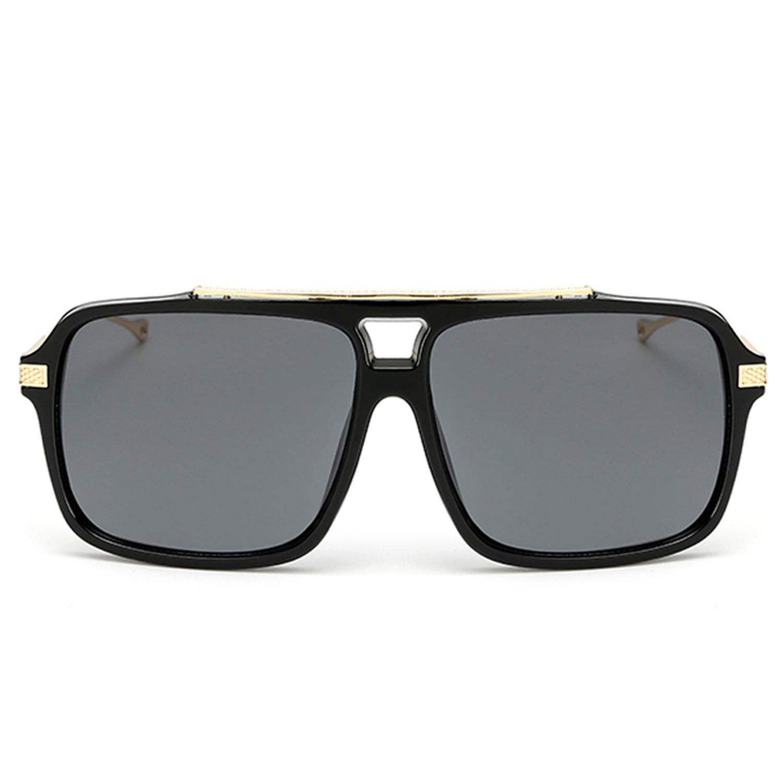 422991a63b Amazon.com  2018 Vintage Square Sunglasses Men Gold Metal UV400 Black  Eyewear Rectangle 18003