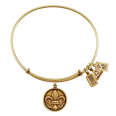 Amazon com: Wind & Fire Fleur-de-Lis Gold Finish Charm Bangle: Jewelry