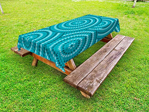 Ambesonne Teal Outdoor Tablecloth, Abstract Aboriginal Tradition Dot Painting Australian Indigenous Folk Artwork Circle Shapes, Decorative Washable Picnic Table Cloth, 58 X 120 Inches, Teal from Ambesonne