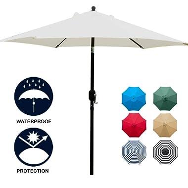 Sunnyglade 7.5' Patio Umbrella Outdoor Table Market Umbrella with Push Button Tilt/Crank, 6 Ribs (Beige)