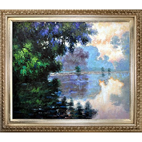 overstockArt Morning on The Seine Near Giverny Framed Oil Reproduction of an Original Painting by Claude Monet, Elegant Wood Frame, Champagne Finish - Original Reproduction