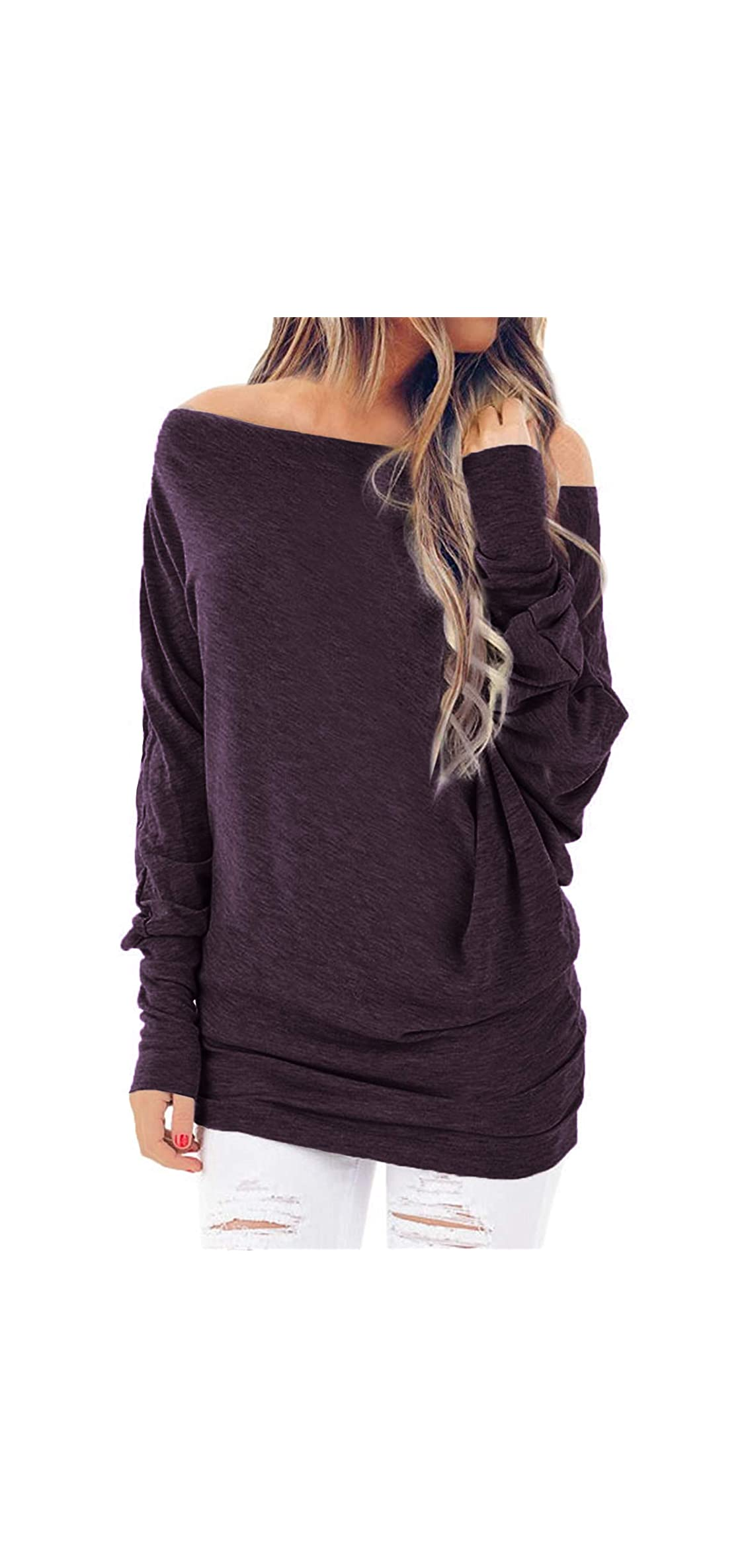 Womens Long Sleeve Shirts Off Shoulder Oversized Loose