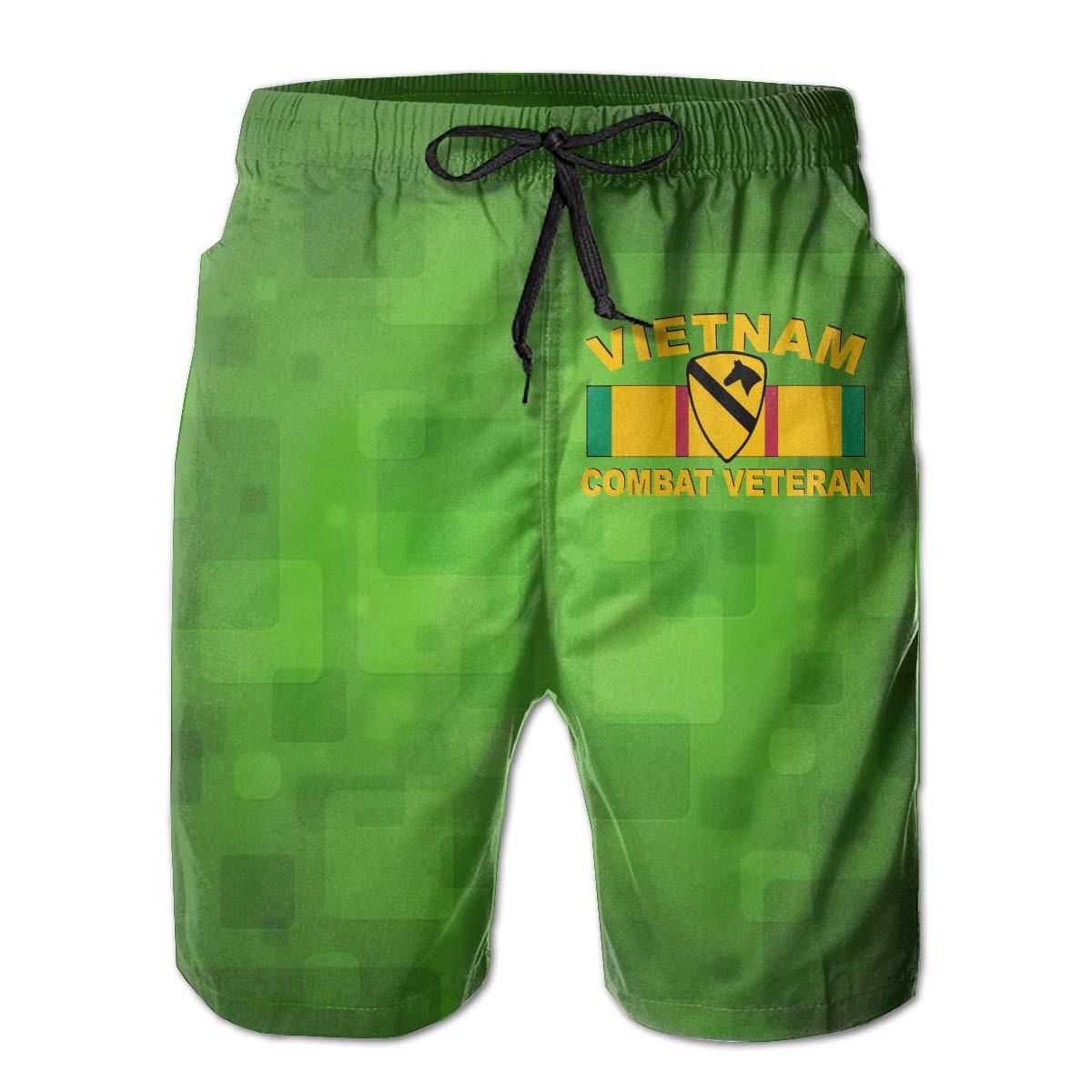 Army 1st Cavalry Division Veteran 3D Print Mens Beach Shorts Swim Trunks Workout Shorts Summer Shorts