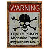 Cheap Wood-Framed Danger Poison Moonshine Liquor Metal Sign, Bar, Pub Décor, Mancave, Den on reclaimed, rustic wood