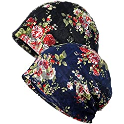 Ganves Women's Sleep Soft Headwear Cotton Lace Beanie Hat Hair Covers Night Sleep Cap (Color Mix 9&10)