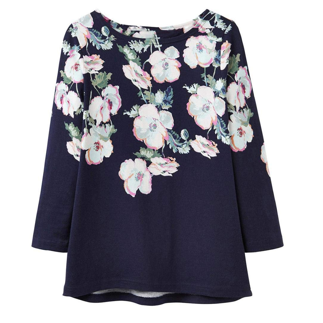 KIMODO Bluse Damen Langarm T Shirts 4//5 /Ärmel Drucken Blumen Top Herbst Mode