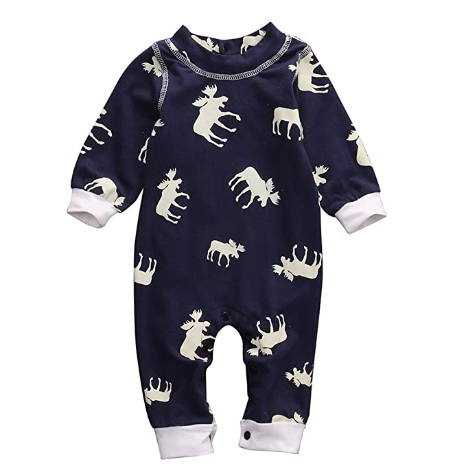 ed5179769 Newborn Baby Girl Boy Romper Deer Pajamas Bodysuit One-piece Outfits ...