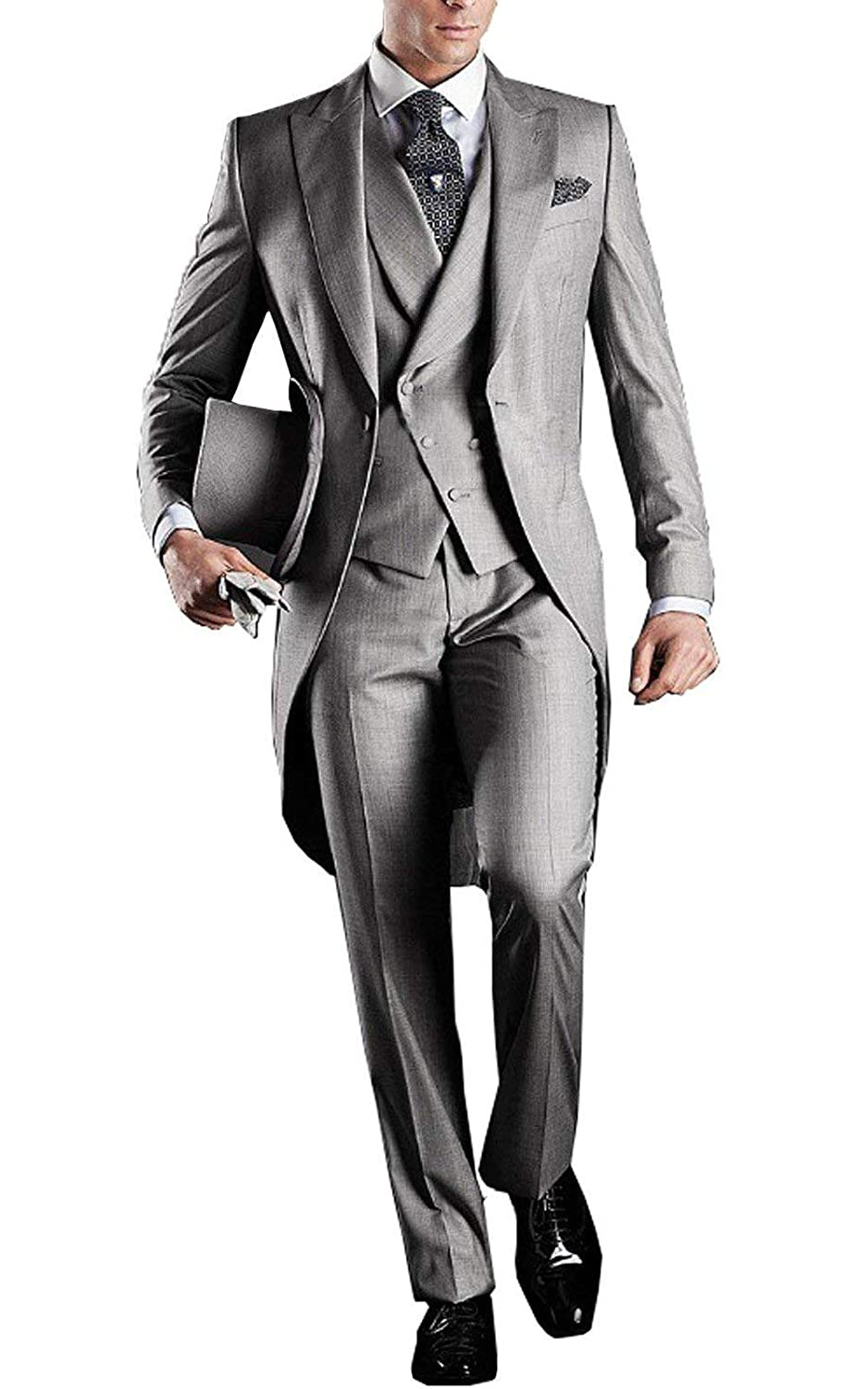 Retro Clothing for Men | Vintage Men's Fashion YBang Mens Classic 3 Pieces Tux Suit One Button Regular Fit Long Tail Tuxedos $84.90 AT vintagedancer.com
